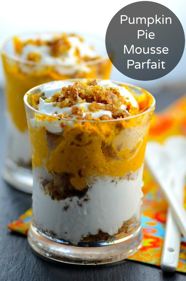 Side view of two cups filled with Pumpkin Pie Mousse Parfait ( Vegan & Gluten Free)