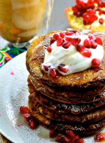 Vegan Beet & Pumpkin Pancakes