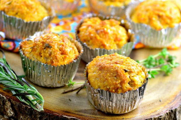 Close up of a few vegan  corn muffins