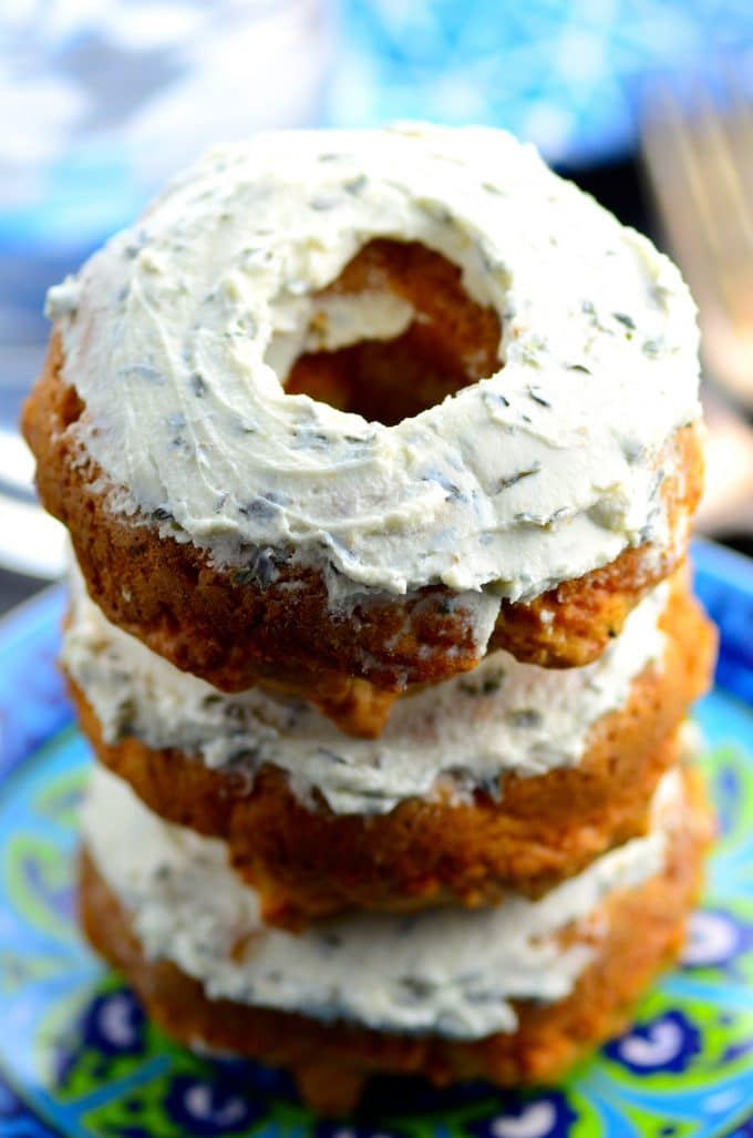 "Savory Cheese Donuts with Goat Cheese ""Frosting"""