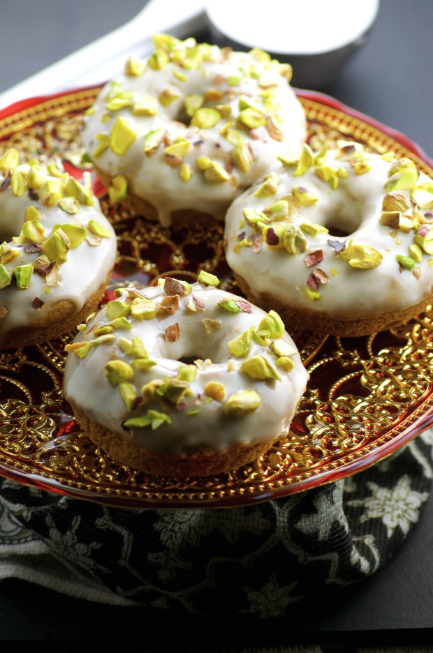 Vegan halva donuts on a red plate