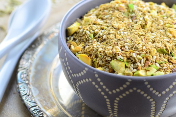 The egyptian condiment Dukkah is a savory blend of seeds, spices and nuts