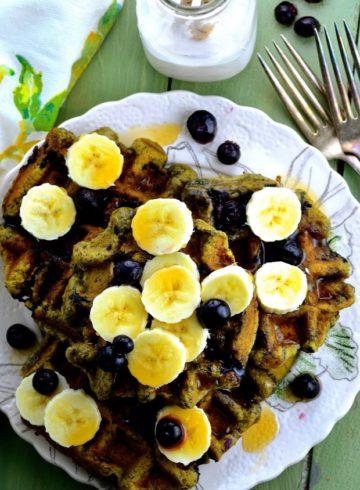 Blueberry Banana Matcha Waffles