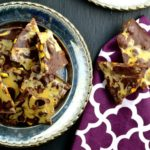 chocolate bark with pistachios a silver plates