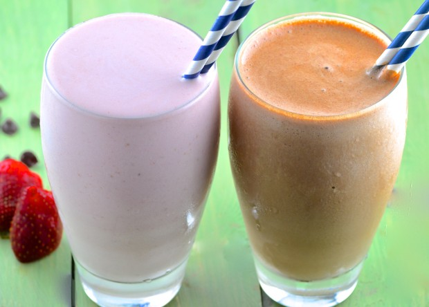 Super delicious, pre or post workout Chocolate and Strawberry Protein Shakes -