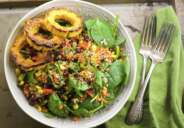 Mexican Spinach Quinoa Salad - Quinoa, black beans and corn with a Tangy cumin Dressing