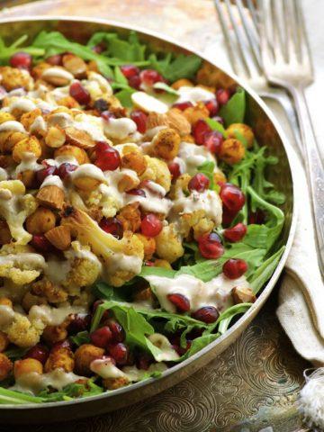 Roasted Cauliflower Salad with Spiced Chickpeas