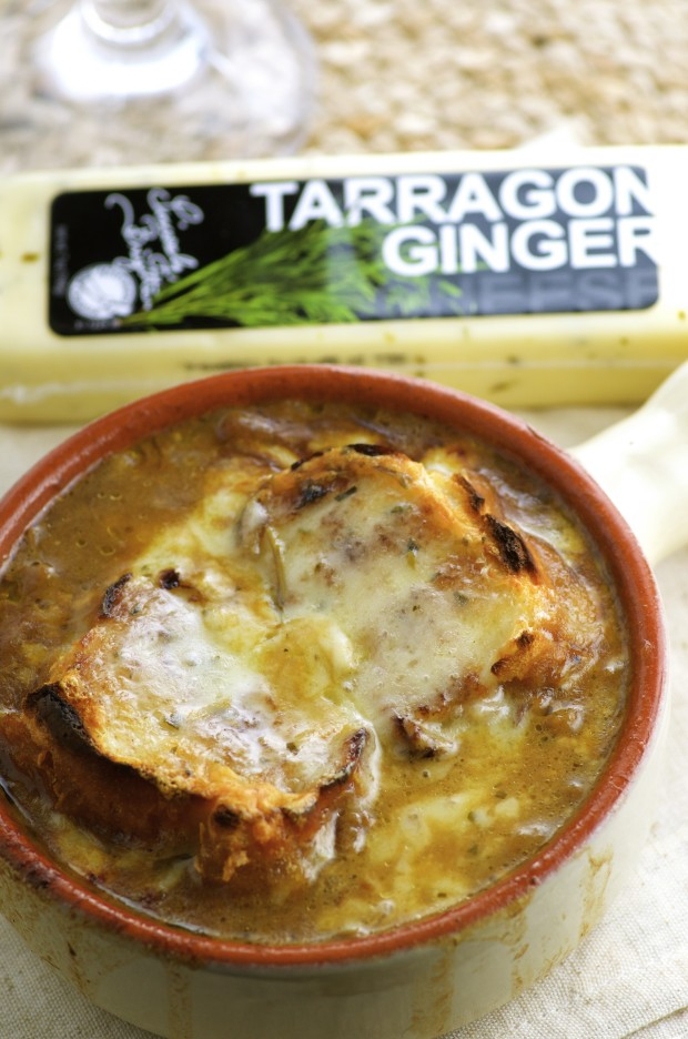 Super comforting Vegetarian French Onion Soup. The super flavorful Tarragon Ginger Cheese makes this soup extra delicious.