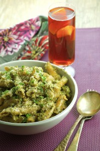 Penne Pasta with Cauliflower and Kale Walnut Pesto - Surprisingly creamy, deliciously healthy