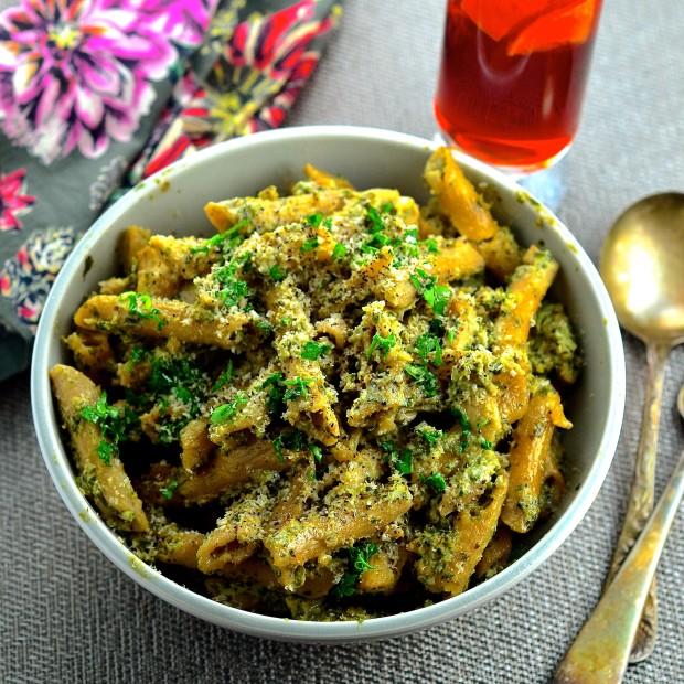 Penne Pasta With Vegan Cauliflower & Kale Walnut Pesto