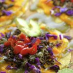 Sweet butternut squash, earthy mushrooms, fresh tomatoes, creamy avocado and crunchy purple cabbage, make this a super flavorful vegan taco. Do you like it spicy, top it with some green dragon spicy sauce.