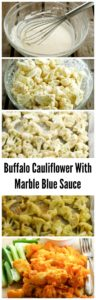 Spicy guilt free cauliflower buffalo wings with a creamy blue cheese sauce
