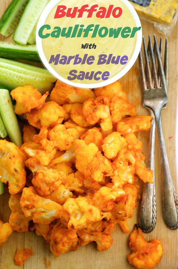 """Spicy, almost guilt free, cauliflower buffalo """"wings"""" with a creamy blue cheese sauce"""