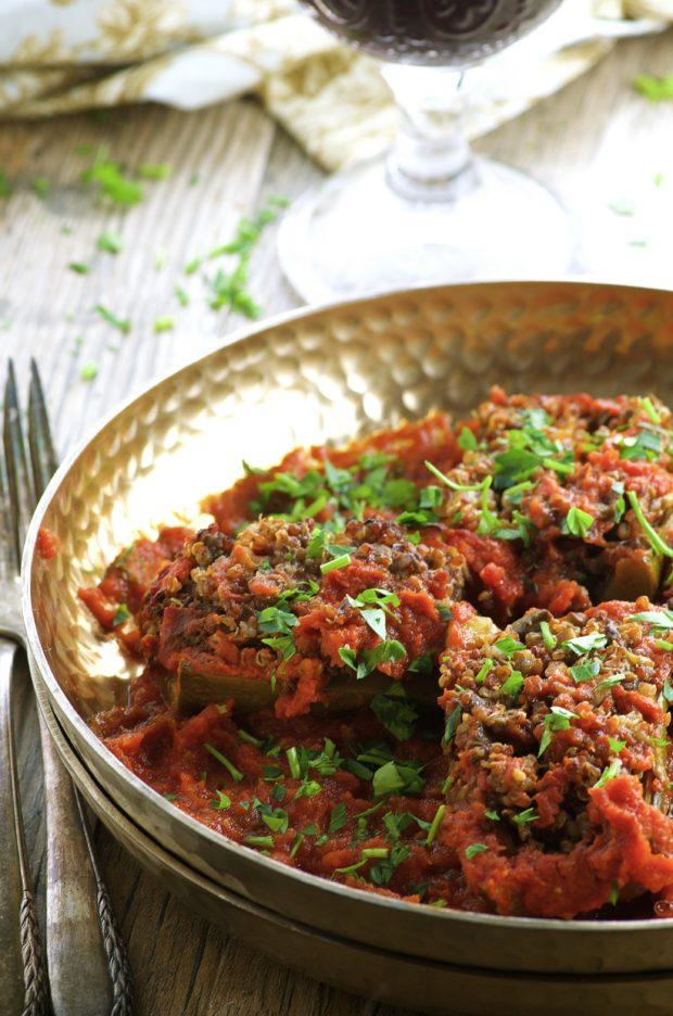 Quinoa stuffed zucchini, vegan , vegetarian, gluten free. Great for passover too!