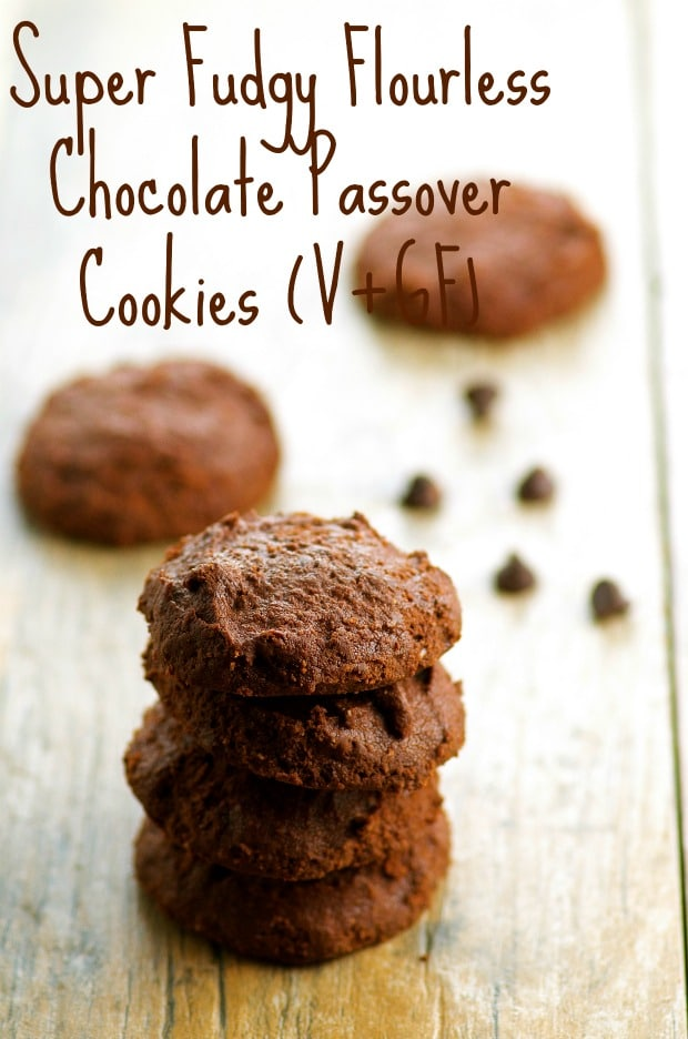 Fudgy flourless chocolate passover cookies. One of our vegetarian Passover recipes.