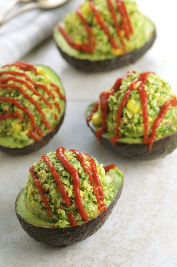 Chickpea Stuffed Avocados with Sriracha