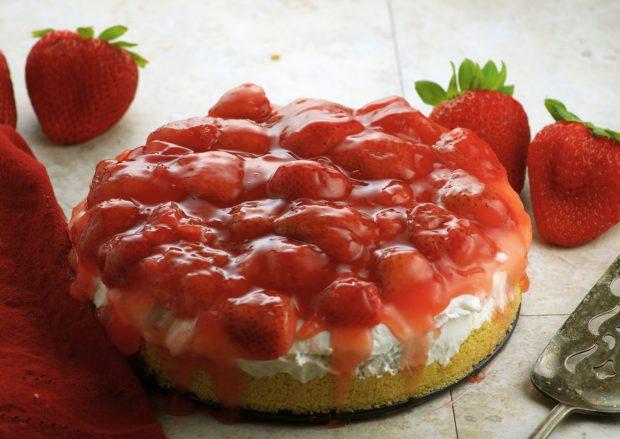Vegan Lemon Strawberry Frozen Cheesecake '