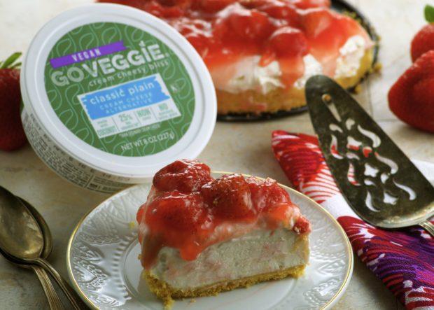 Vegan Lemon Strawberry Frozen Cheesecake