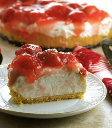 Vegan Lemon Strawberry Frozen Cheesecake