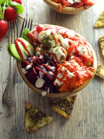 Baked Falafel Bowl With Avocado, Sriracha & Tahini - A great dish for fitness lovers, vegetarians and vegans