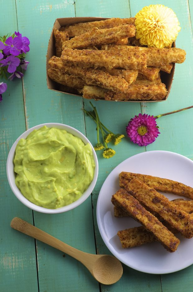 Tofu Fries with Avocado Crema. A tasty side dish or appetizer. High in protein and healthy fats from the avocado.