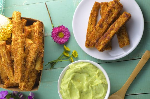 Tofu Fries with Avocado Crema. A tasty and satisfying side dish or appetizer. High in protein and healthy fat from the avocado crema.