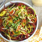 Spiralized veggie noodles with peanut sauce
