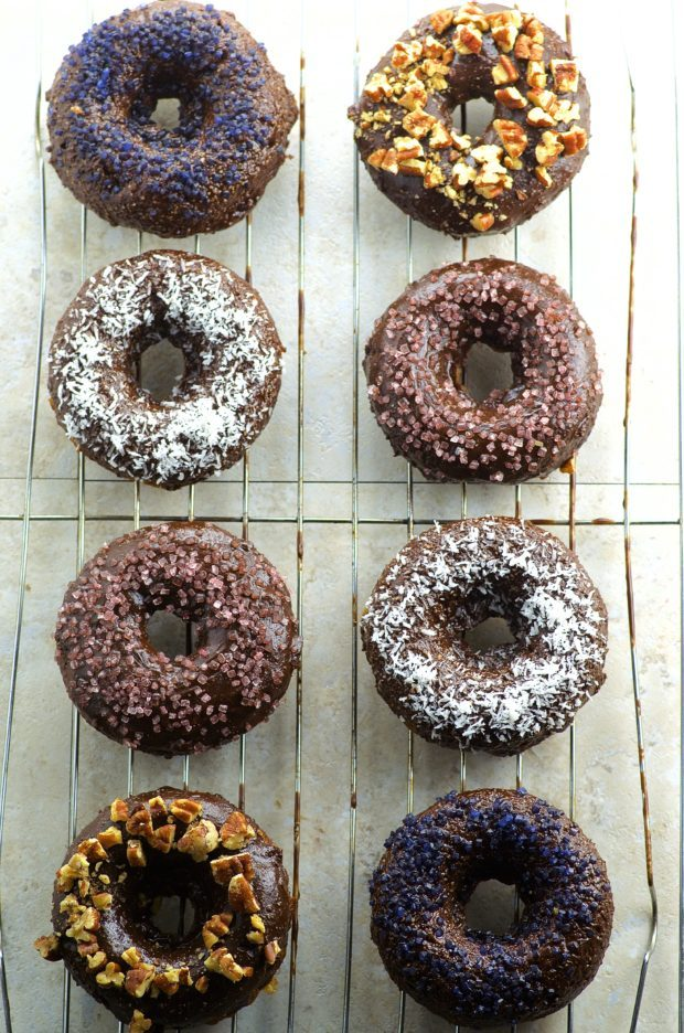 bird's eye view The moistest Chocolate glazed banana bread donuts you will ever taste