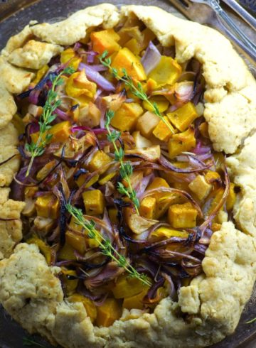 A delicious combination of sweet and savory, this Roasted Butternut Squash Galette is the perfect appetizer or side this for your Rosh Hashana, Thanksgiving or holiday table!
