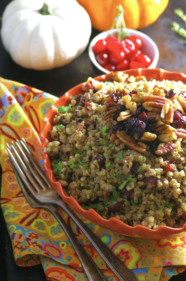 Cauliflower Rice Stuffing a low carb alternative to your Thanksgiving and Holiday Stuffing