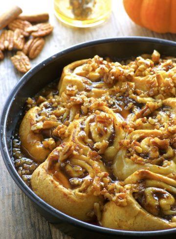 Easy Maple Banana Pumpkin Cinnamon Rolls