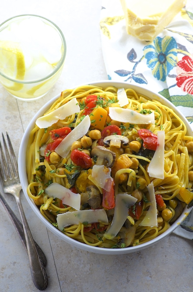 One Pot Chickpea And Butternut Squash Pasta #FamilyPastaTime @BarillaUS
