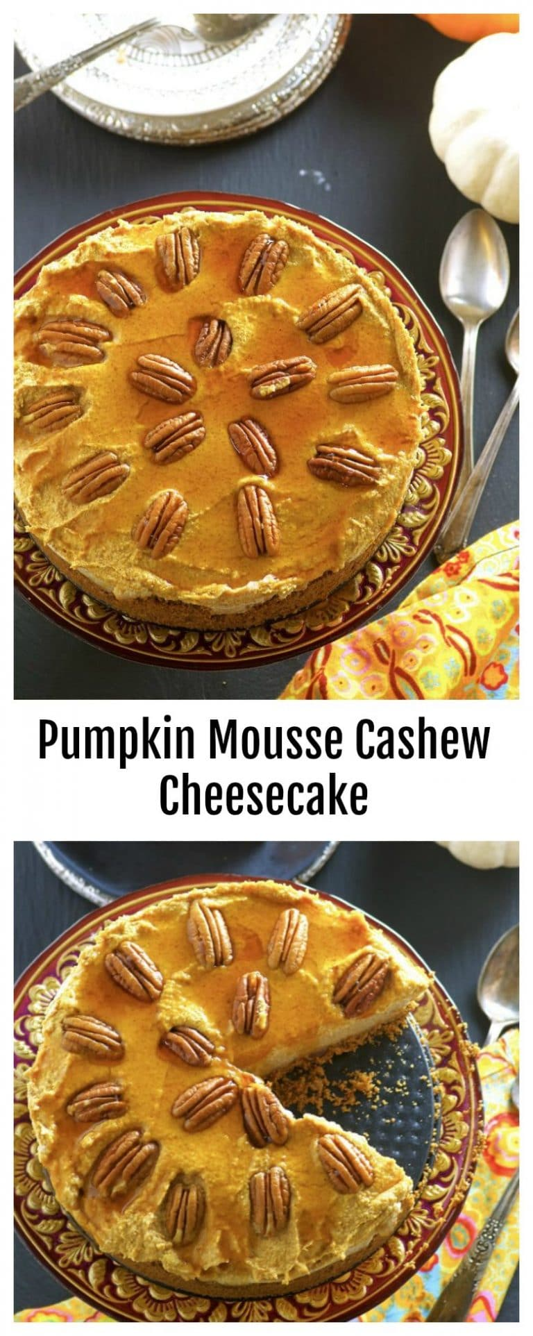 This No-Bake Pumpkin Mousse Cashew Cheesecake has all the pumpkin pie flavors we all love and the creaminess and richness of a traditional cheesecake. All vegan, dairy and gluten free!