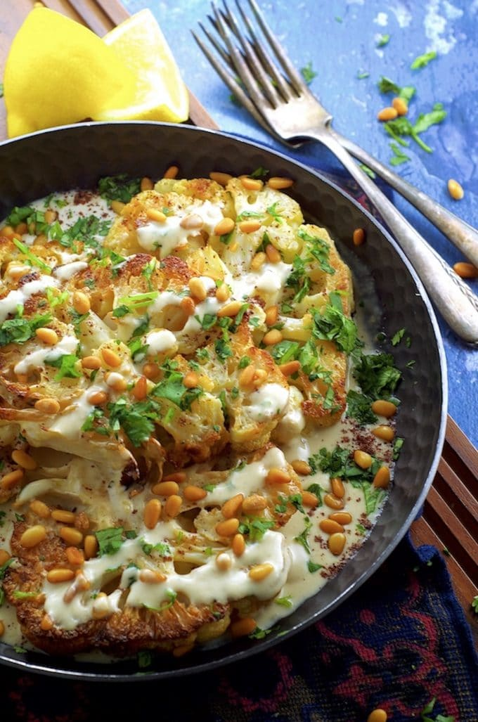 Roasted Cauliflower Steak with Tahini and Pine Nuts - It taste fried ...