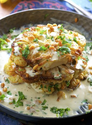 Roasted Cauliflower Steaks With Tahini