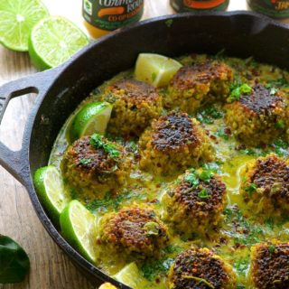 Cauliflower Quinoa Meatballs in Coconut Turmeric Broth - A great Vegetarian dinner idea and a great way to try some new spices.