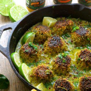 Cauliflower Quinoa Meatless Meatballs In Coconut Turmeric Sauce