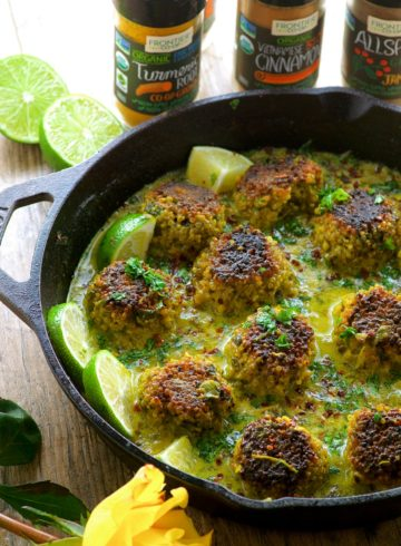 Cauliflower Quinoa Meatless Meatballs In Coconut Turmeric Sauce