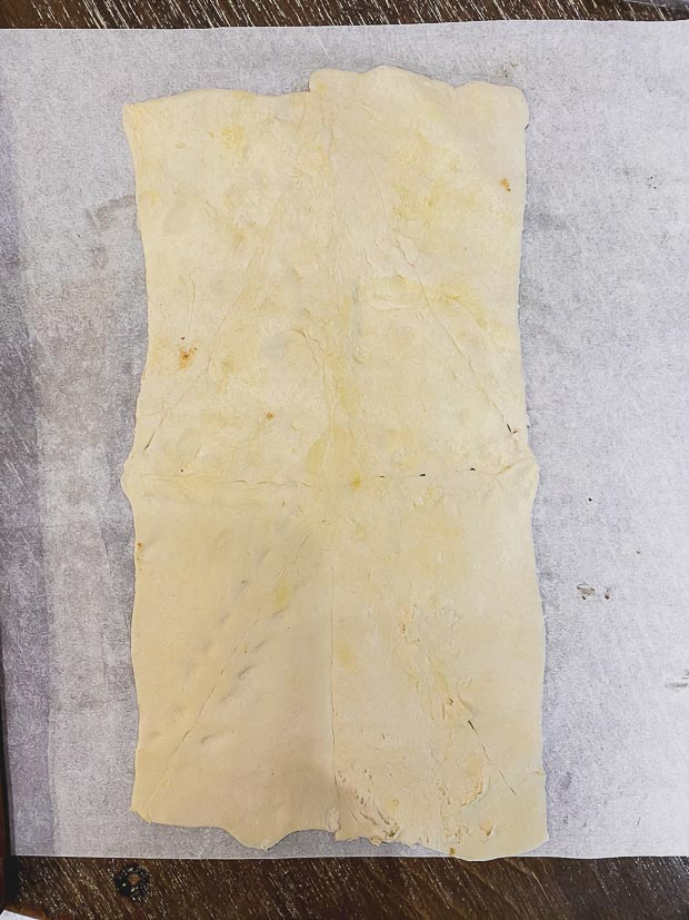Rolled crescent dough, with the seams smother