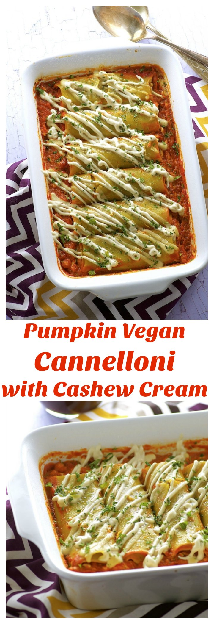 These Pumpkin Vegan Cannelloni with Cashew Cream make a super satisfying meatless dish to add to your Thanksgiving table!