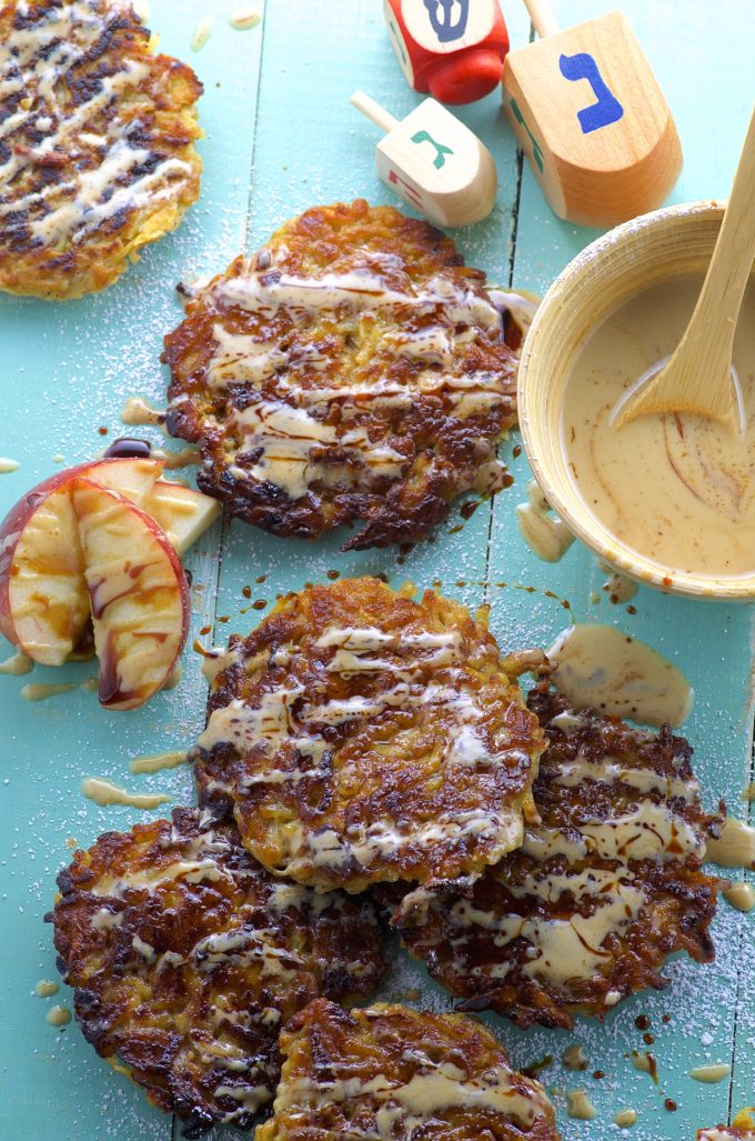 Apple potato latkes with Silan tahini sauce