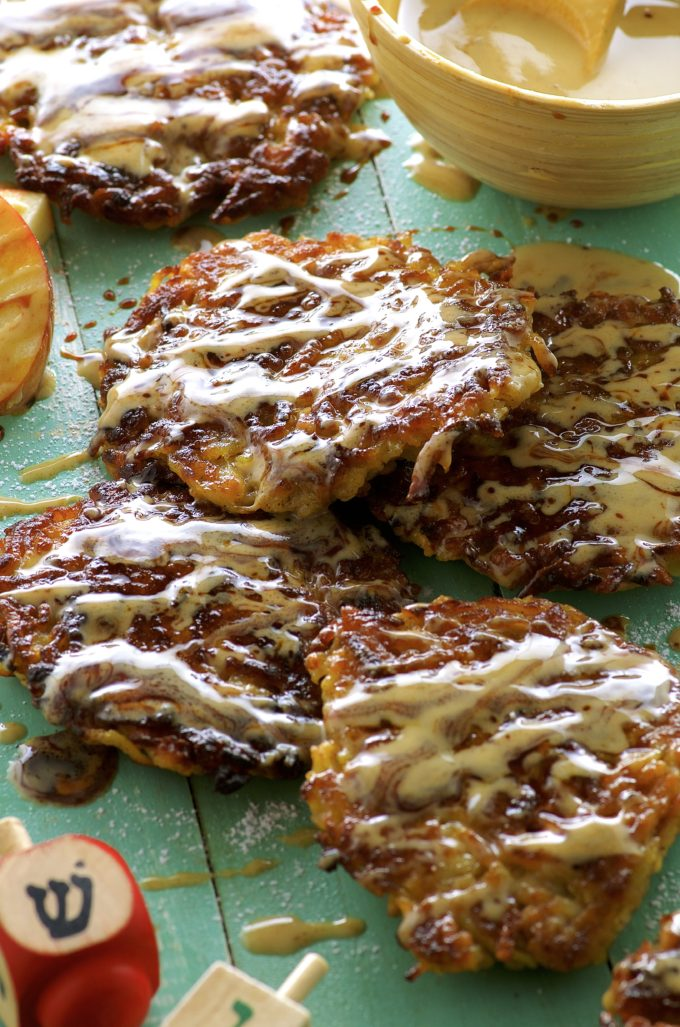 Apple potato latkes with Silan tahini sauce