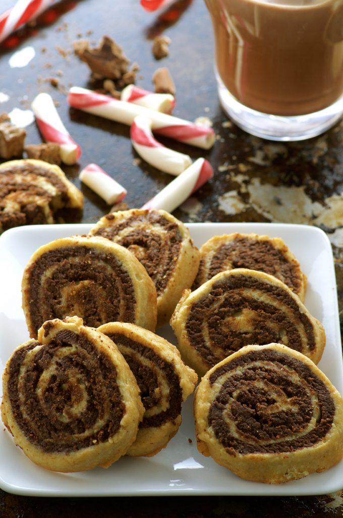 Peppermint Chocolate Pinwheel Cookies