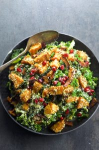 Have your Vegan Detox and enjoy it too. A deliciously filling and satisfying Kale Salad with sweet roasted butternut squash and juicy pomegranate seeds