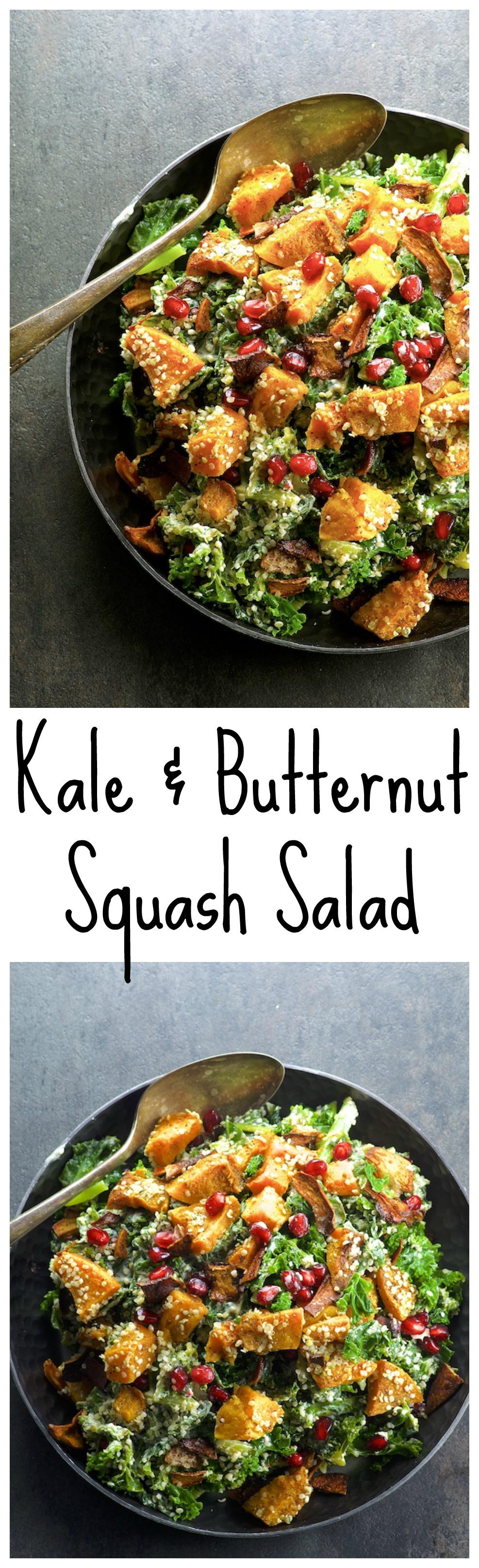 Vegan Kale Caesar Salad With Mushroom Bacon Bits and Pomegranates