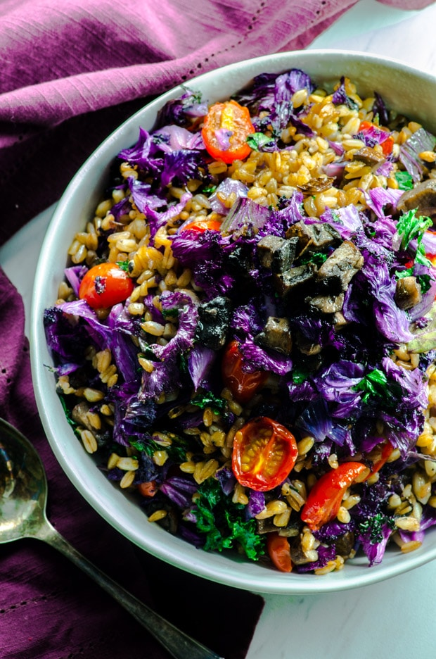 Close yp of the purple kale and farro bowl