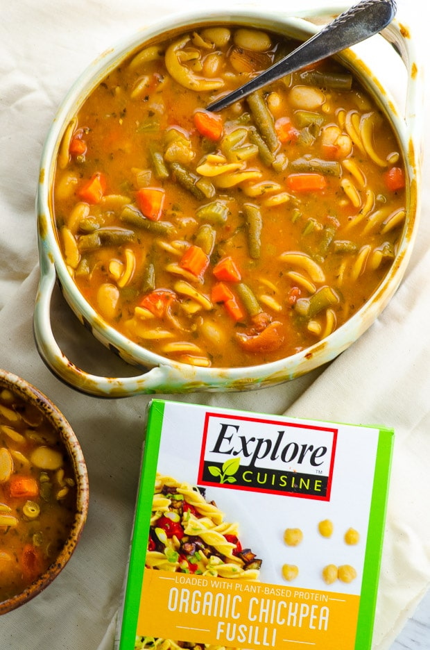 Warm up this winter with a big bowl of this Protein Packed Minestrone Soup. A complete meal in a bowl you'll love!