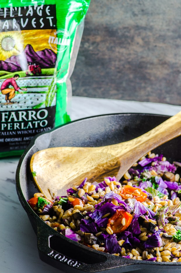 Purple Kale Farro Bowl - Super healthy vegetables, filling whole grain farro make a delicious vegetarian and vegan main dish.