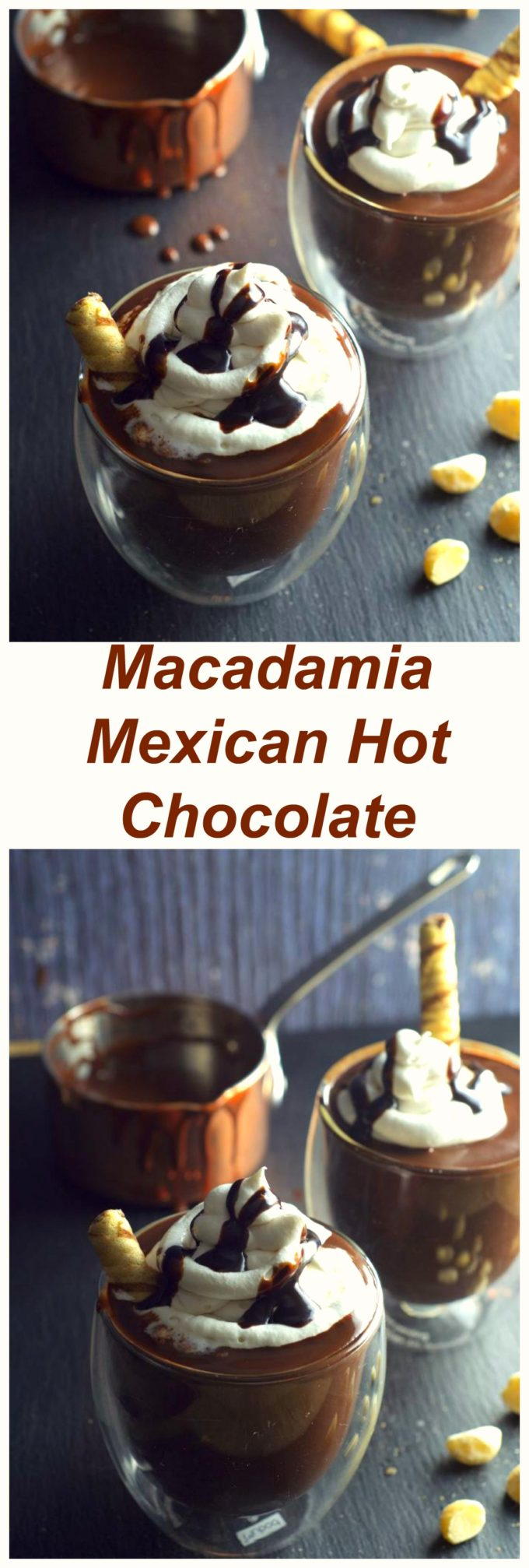 Macadamia Mexican Hot Chocolate – thick, decadent and with a hint of spice. Made with delicious macadamia nut milk!