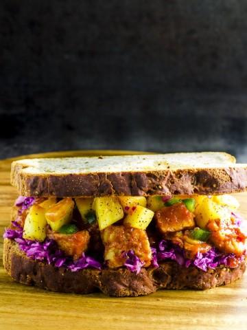 Gluten Free Bbq Tempeh Sandwich with Pineapple Salsa